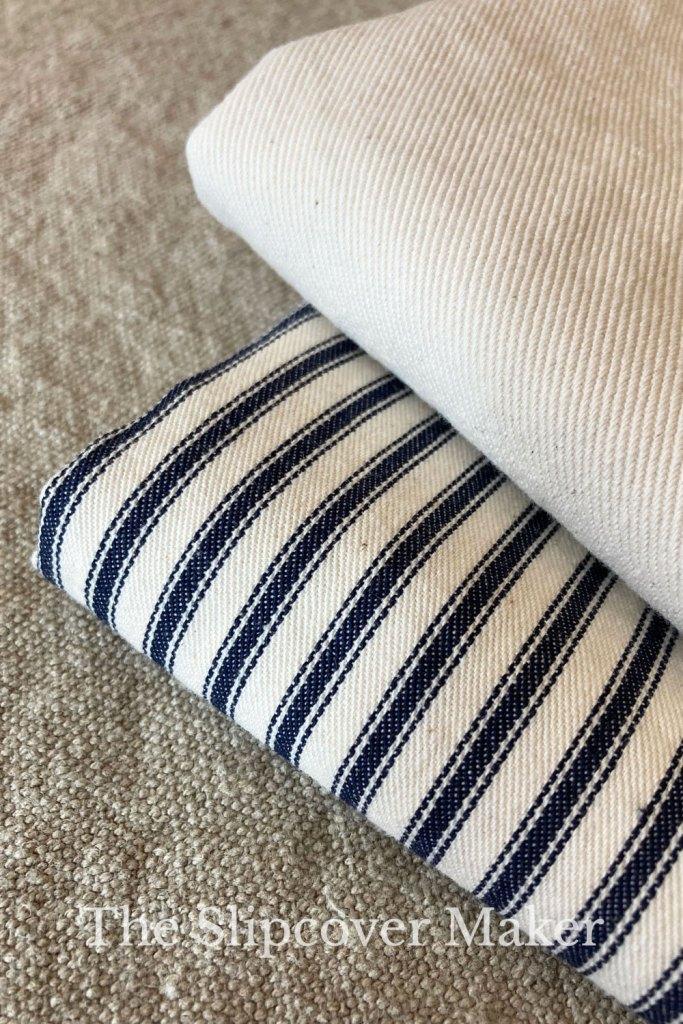 Slipcover fabrics ticking and natural denim.