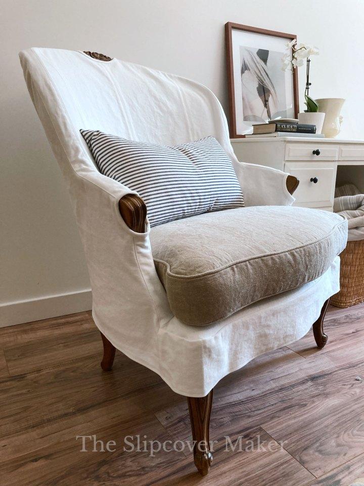 Bergere Chair with Denim Hemp Slipcover