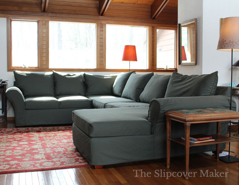 Canvas Sectional Slipcover Dart Detail