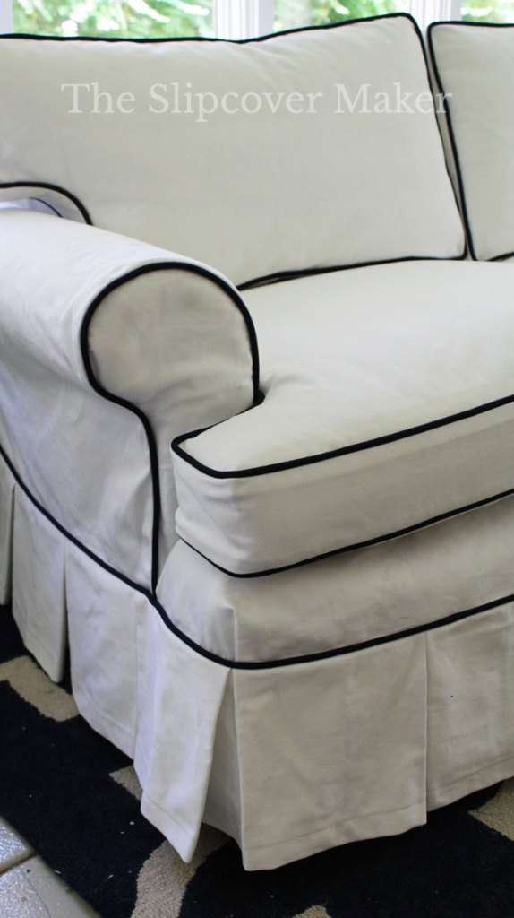 White Canvas Sofa Slipcover with Corner Dart