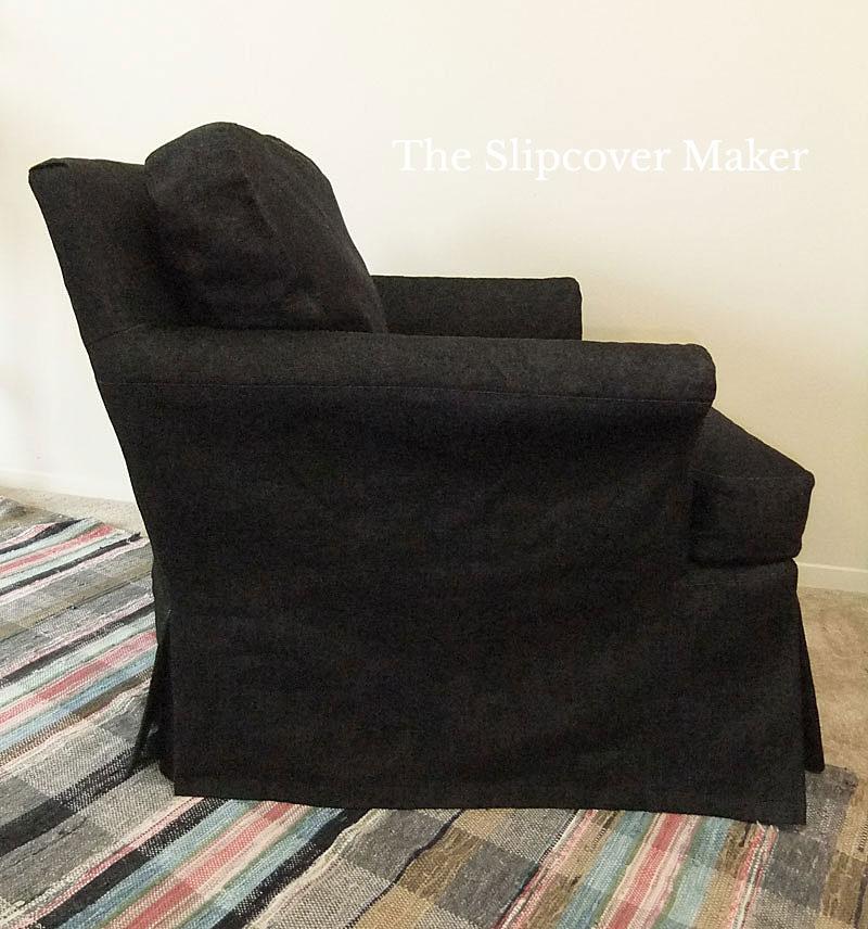 Slipcover Waterfall Skirt Black Denim