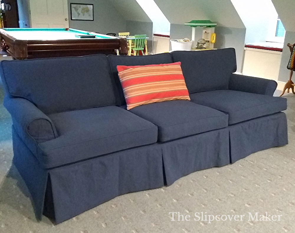 Sofa Slipcover with Lined Tailored Skirt