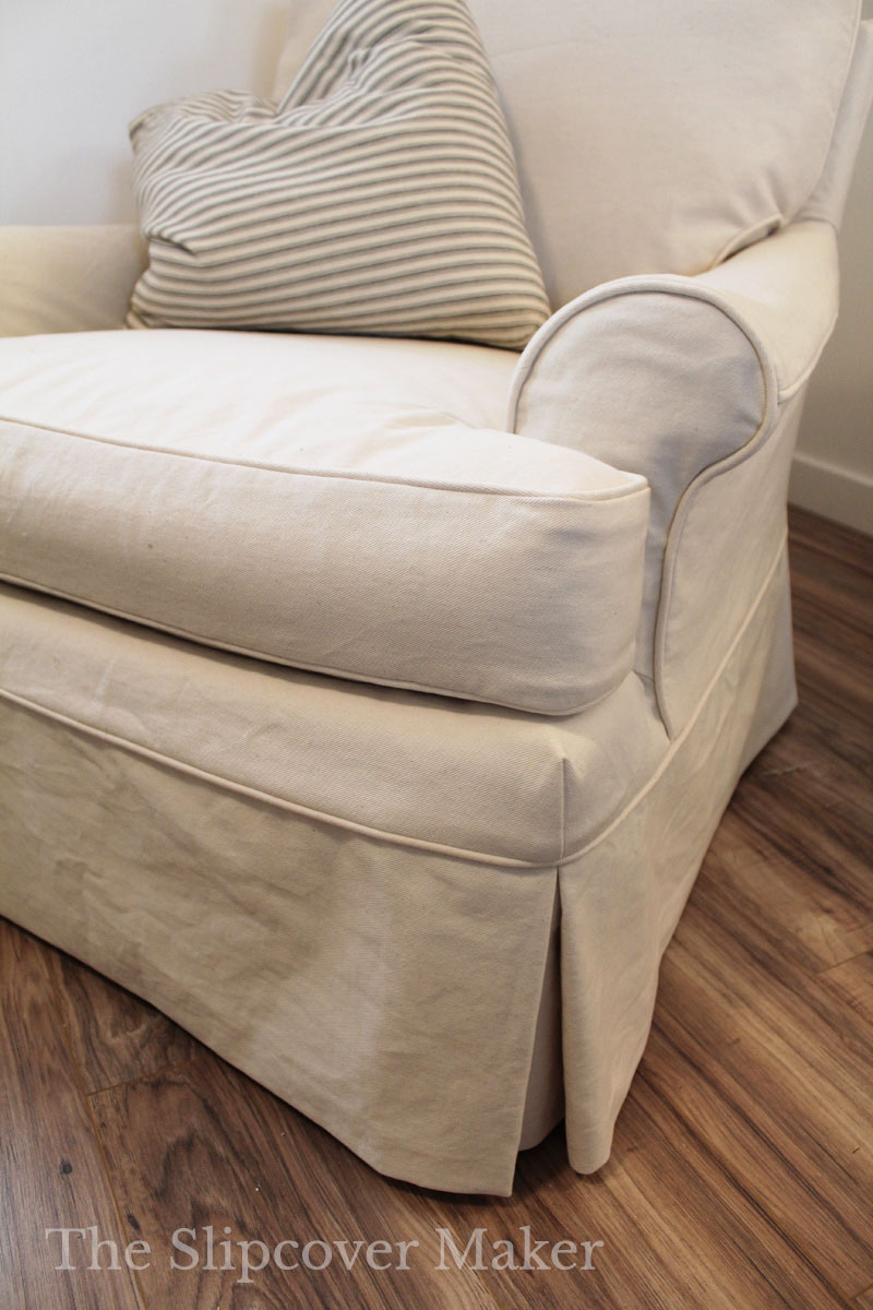 Natural Denim Chair Slipcover with Tailored Skirt