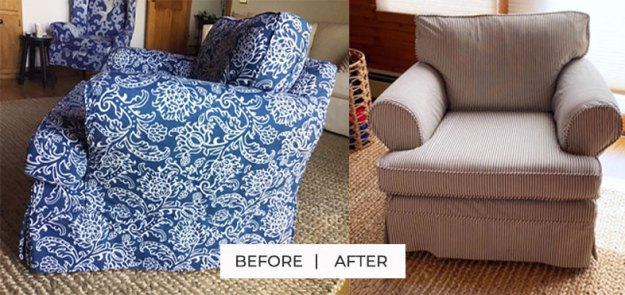 Ticking Stripe Armchair Slipcover Replacement