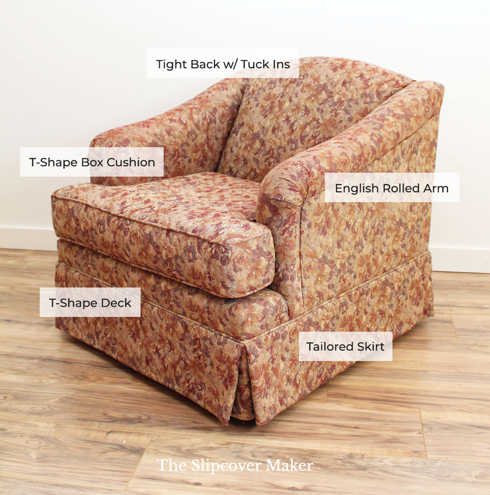 Orange upholstered chair with  labeled design features.