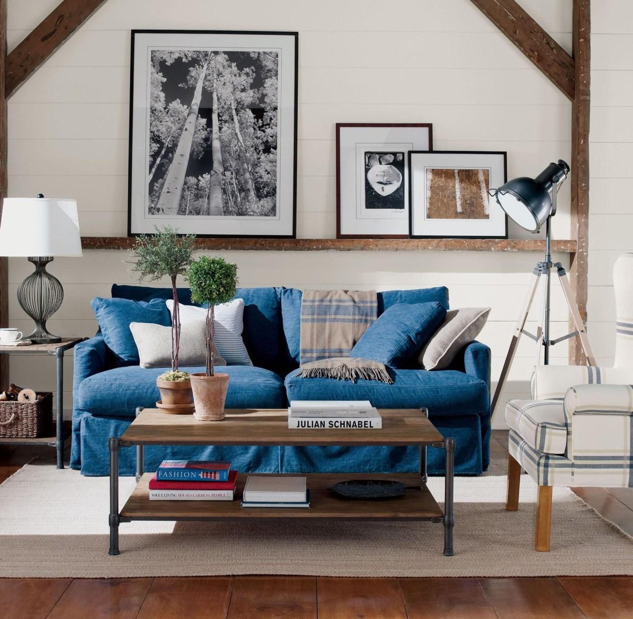 Sofa with indigo denim slipcover.