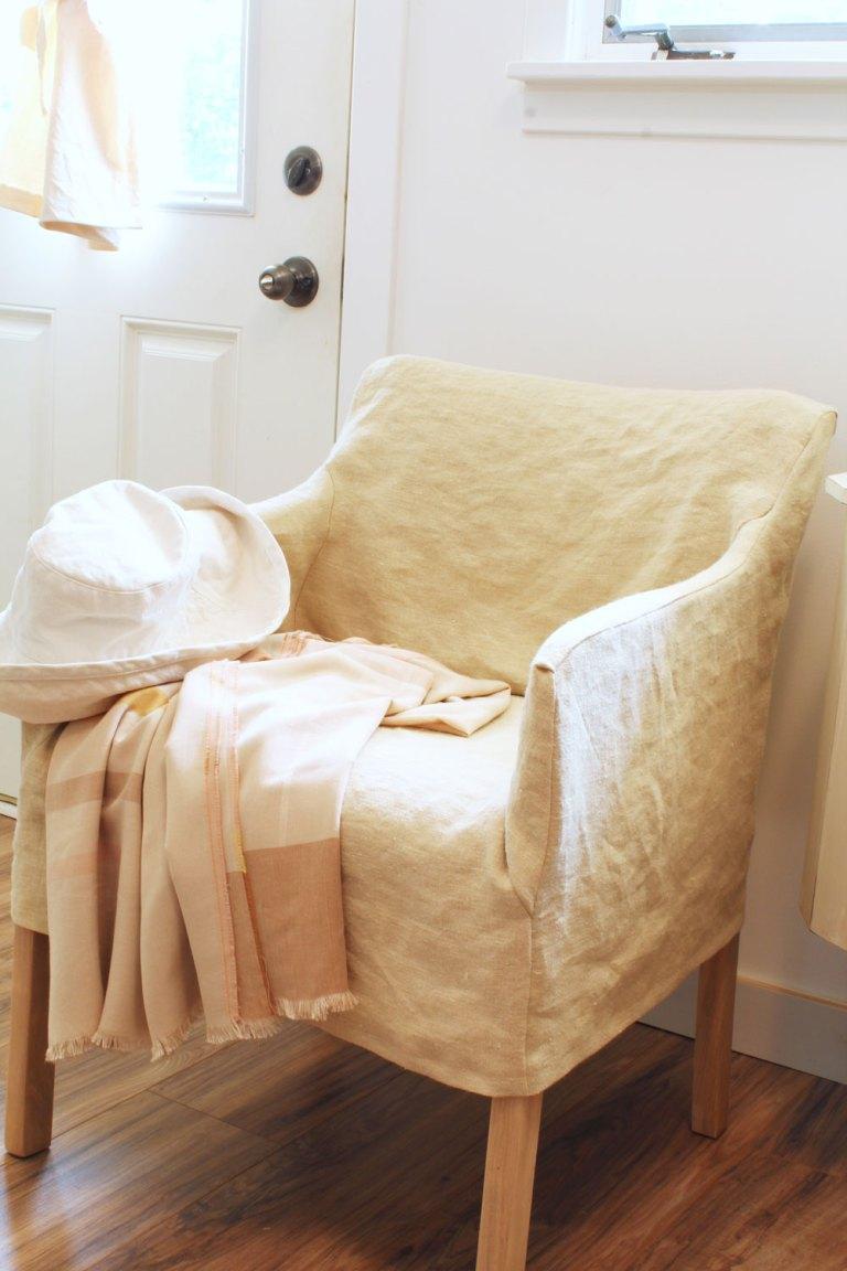 Light tan hemp slipcover for old office chair.