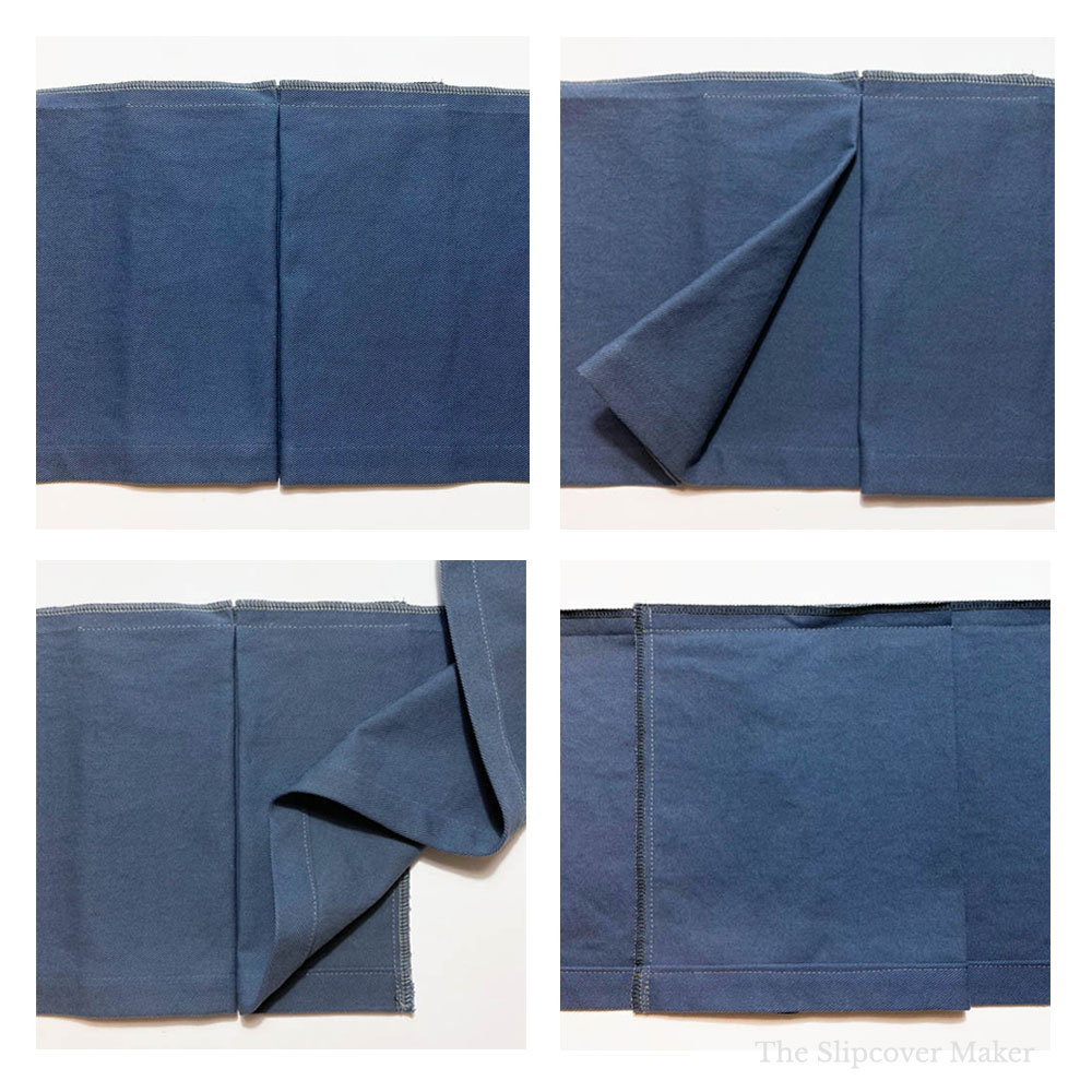 Four different views of slipcover inverted box pleat on skirt panel.