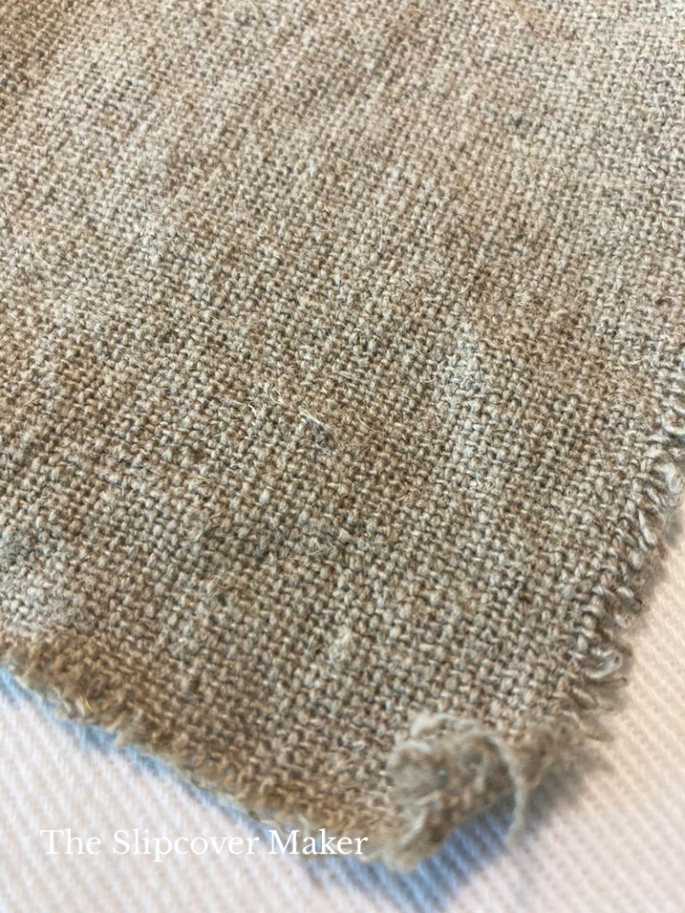 Rustic hemp fabric swatch in color taupe.