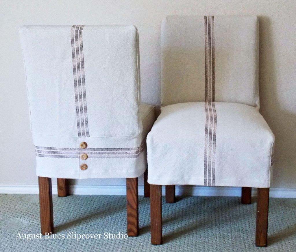 Grainsack stripe slipcover on dining chair