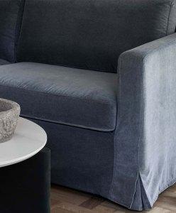 Grey velvet slipcover on Ikea sofa.