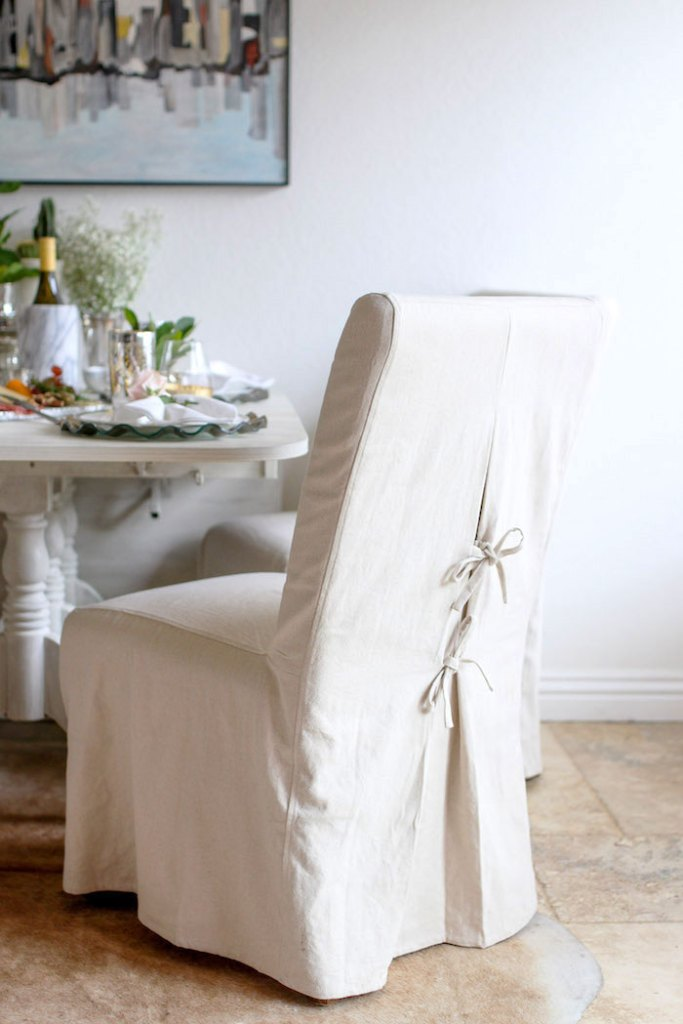 Natural canvas Parsons chair slipcover with ties.