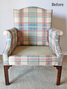 Plaid dining chair before slipcover.