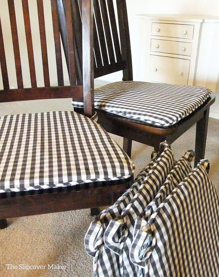 Brown and white check chair seat pads.