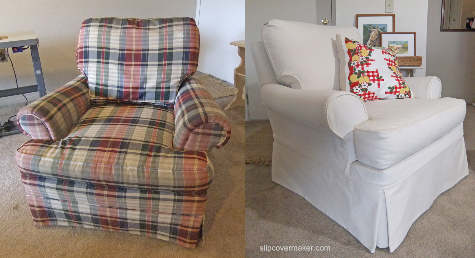 portfolio chair and ottoman the barbers custom slipcovers in natural canvas | slipcover maker
