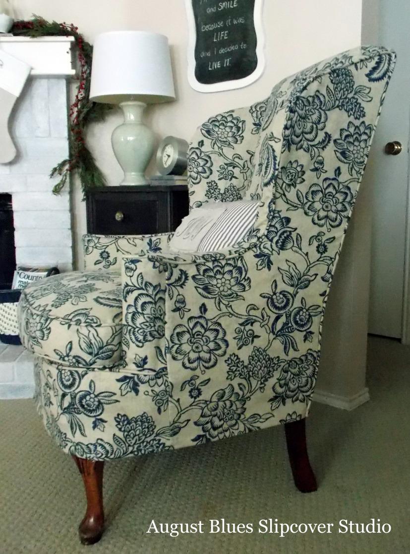 blue wingback chair slipcovers leg tips beautiful the slipcover maker