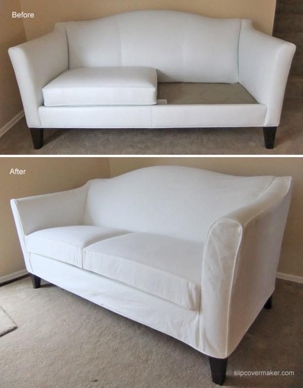 White Denim Slipcover For Ethan Allen Leather Sofa The Slipcover