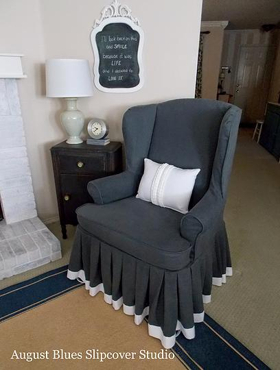 Armchair Slipcovers with Soft  Loose Pleated Skirt  The