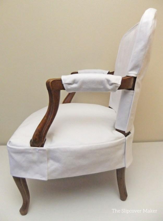 Simple White Denim Slipcover For French Chair The Slipcover Maker