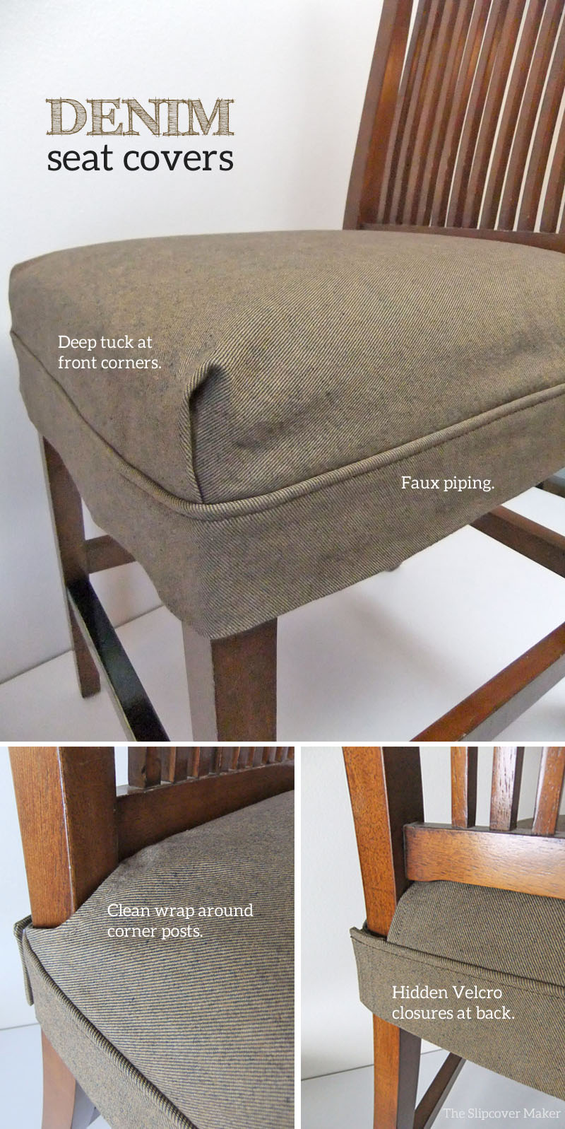 chair covers make your own used dining table and chairs for sale tailored denim seat the slipcover maker by