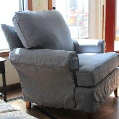 Gray Chair Slipcover Sofa Lounge Linen Slipcovers The Maker Instalinen Slate Blue