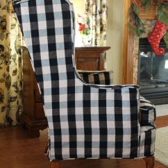 Black Wingback Chair Covers Salon Accessories Wing Slipcover In Buffalo Check The Maker Natural