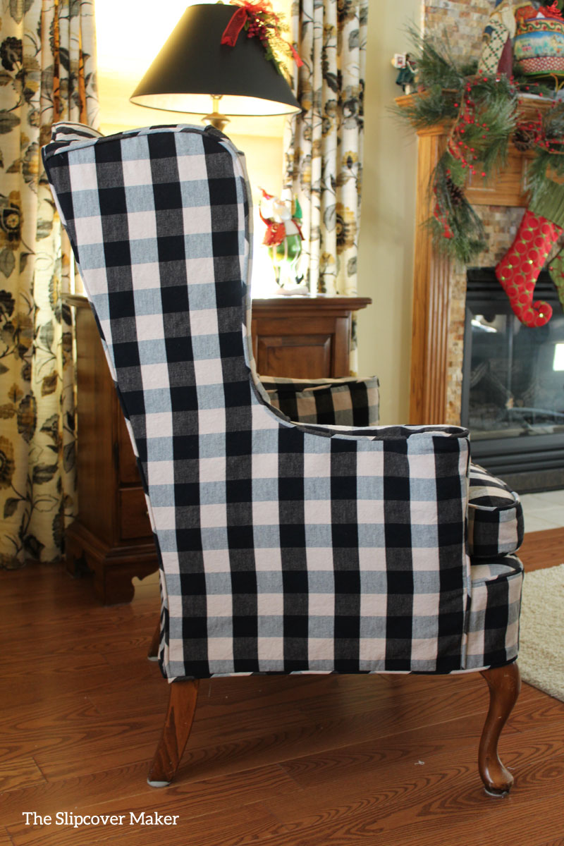 gray chair slipcover lidl christmas covers wing in buffalo check the maker black natural