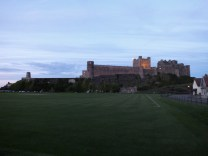 Bamburgh castle. it is right next to the sea and there are lots of amazing photos of it.