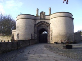 Nottingham castle Gate. only the foundations are genuine.