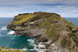 Looking across to the site of Tintagel