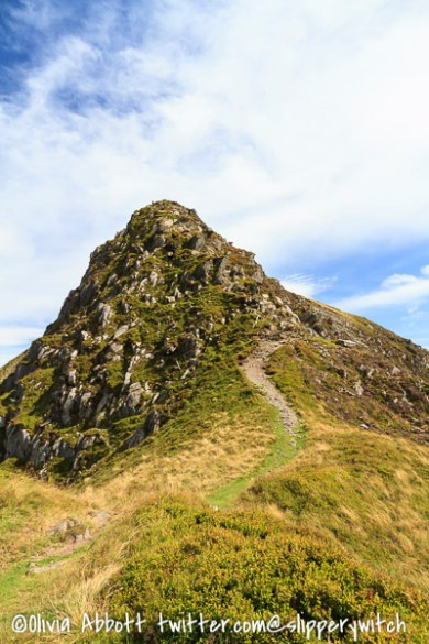 Looking back at that rather steep and exposed descent from Pen yr Helgu Ddu