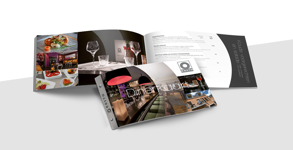 Restaurant Oosth menukaart, grafisch ontwerp en creatie door Slize