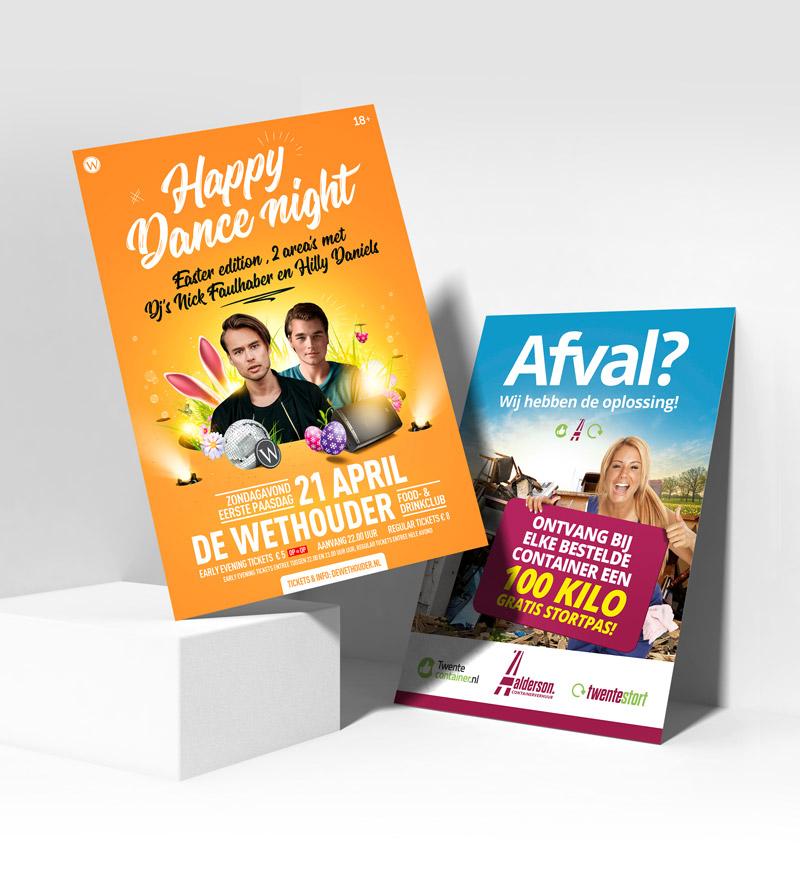 Grafisch vormgeving van Slize in Oldenzaal | posters Happy Dance Night en Flyer van Aalderson.