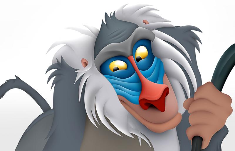 Digitale tekening Lion King - grafisch vormgever Slize
