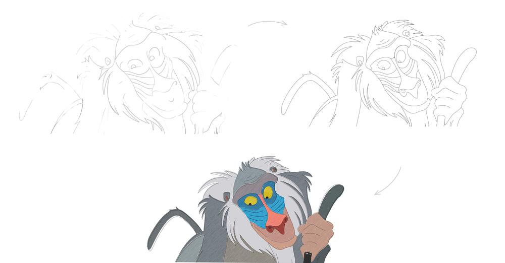 Grafisch vormgever en ontwerper in Oldenzaal. Slize tekent Rafiki van de Lion King, schets fase 1