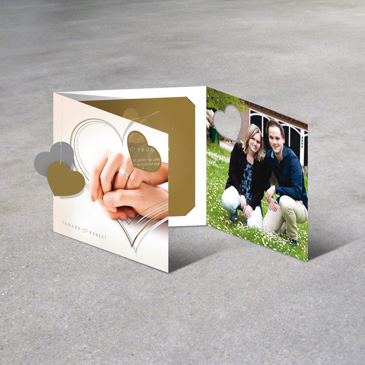 Drukwerk Oldenzaal - Luxe trouwkaart gedrukt in goud, zilver en full-colour. Speciale afwerking op 6 manieren.