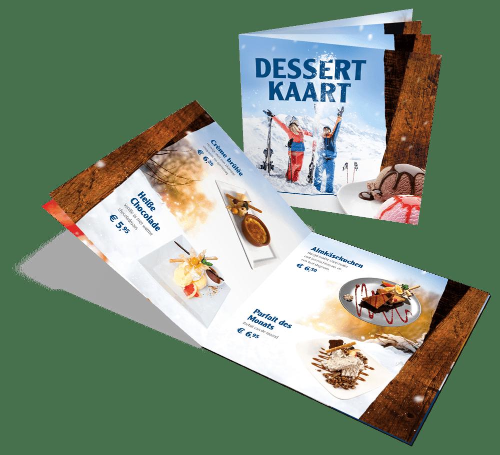 Horeca print & drukwerk Oldenzaal / Enschede, dessertkaart 8 pagina's
