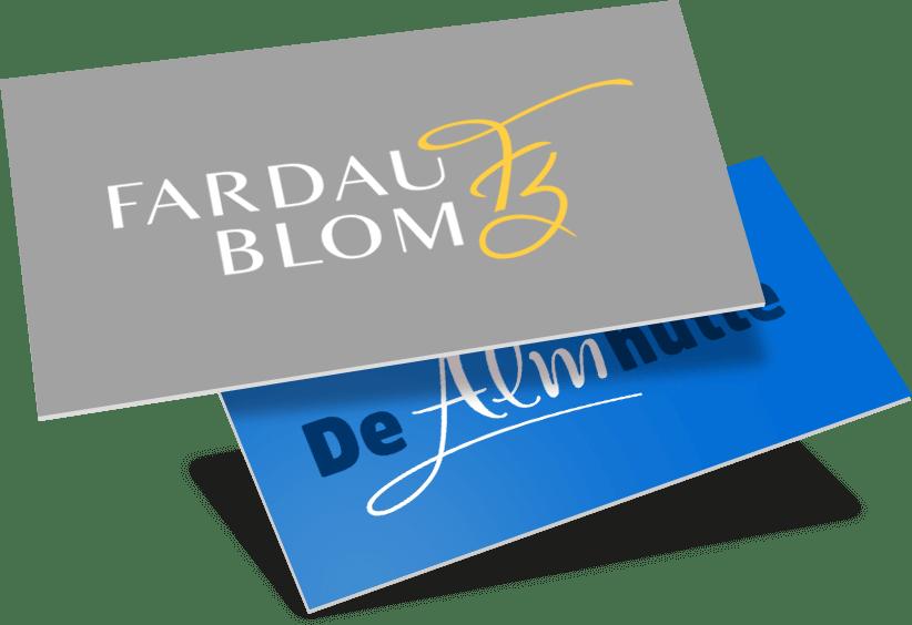 Visitekaartjes & logo ontwerp Fardau Blom en de Almhutte