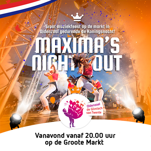 Groote markt Oldenzaal, maximas night out - social media posting