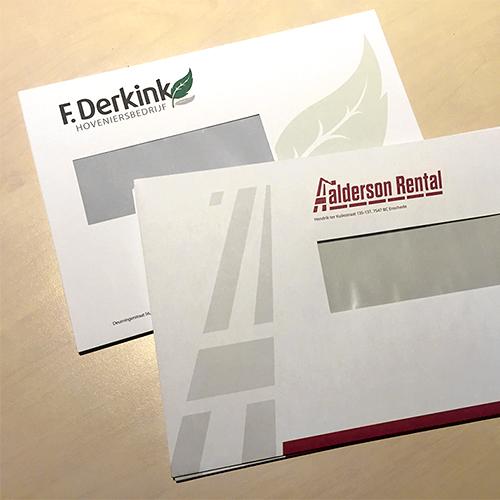 Bedrukte enveloppen met venster, huisstijl drukwerk voor Oldenzaal, Enschede, Deurningen e.o.