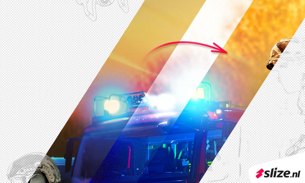 afbeelding kwaliteit verbeteren, werken met photoshop filters. Grafisch bewerkte foto van een brandweer auto met loeiende sirenes