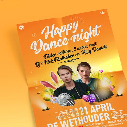 Happy Dance Night Poster Denekamp   Easter edition met Nick Faulhaber en Hilly Daniels