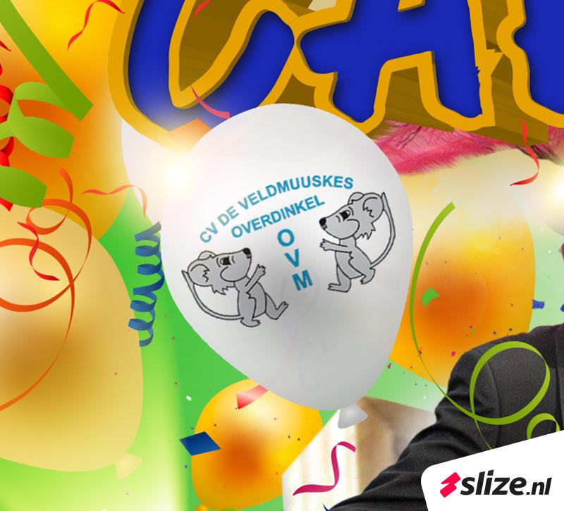 Carnaval reclame maken, carnavals ballon met logo cv de veldmuuskes overdinkel