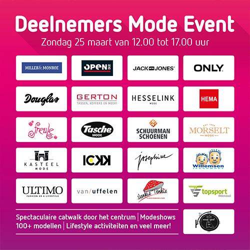 Deelnemers mode event - social media posting met logos centrum ondernemers Oldenzaal