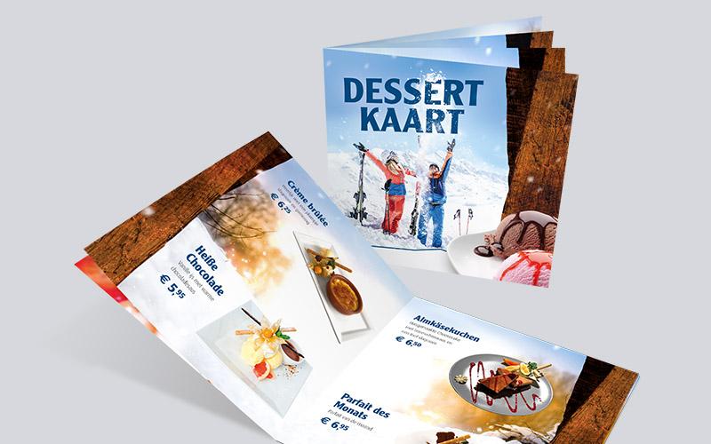 Dessertkaarten grafisch ontwerp Enschede, Realisatie vormgevign en drukwerk