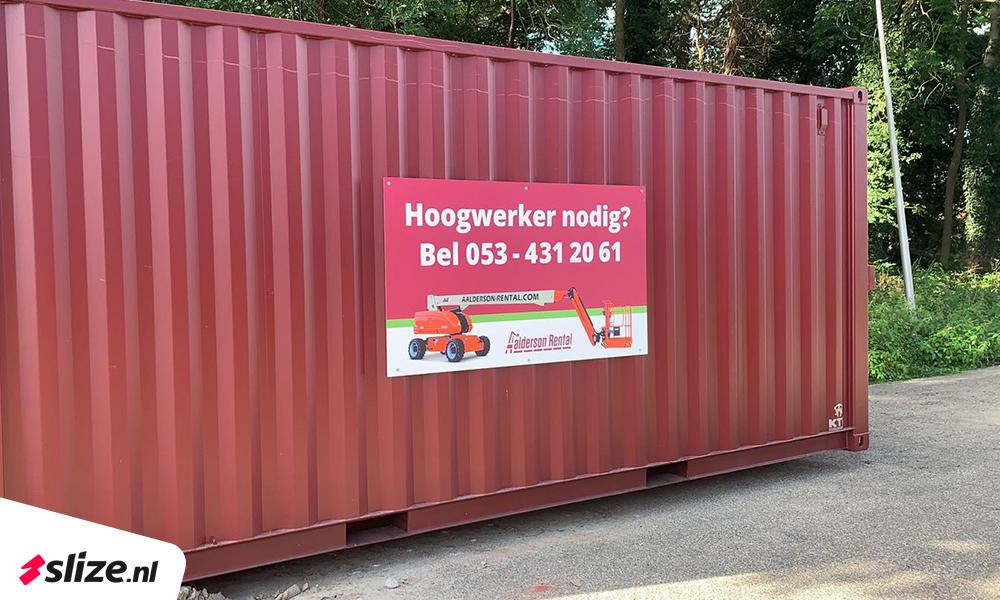 Reclamebord hoogwerkerverhuur | Print - drukwerk - sign van Slize Oldenzaal