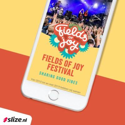 Mobiele website maken - Landingspagina Fields of Joy Festival x Slize Oldenzaal