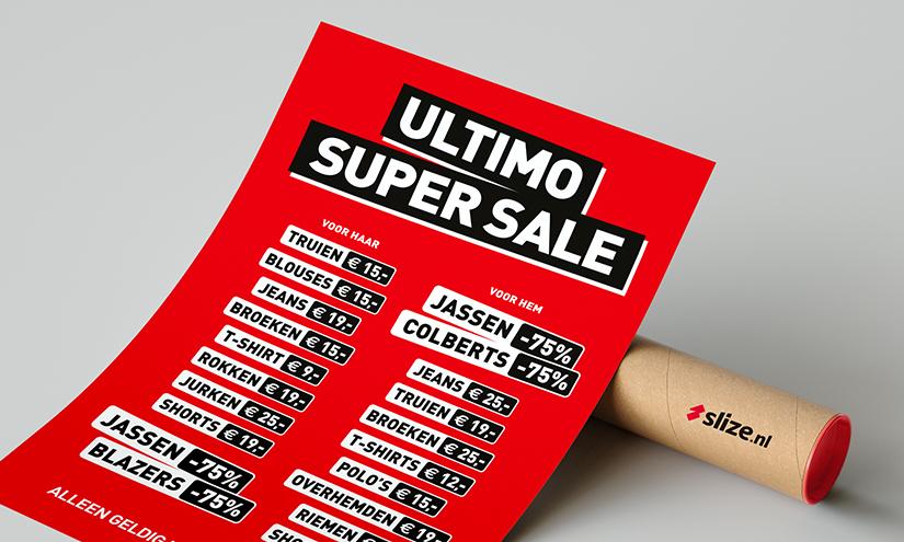 super sale poster opmaken voor ultimo mode oldenzaal