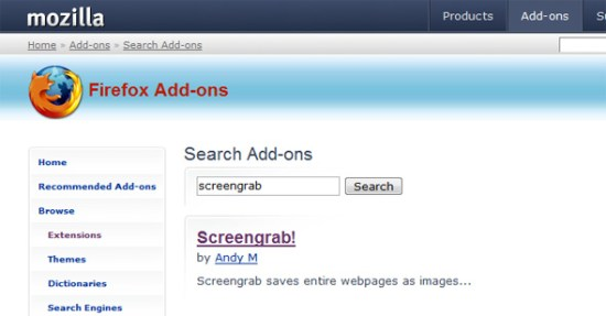 firefox add ons screengrab