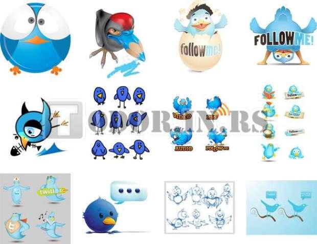 Besplatna kolekcija vektorskih Twitter ikonica